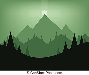 Abstract landscape design with green trees, hills, fog and...