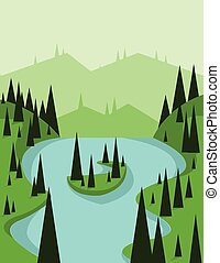 Abstract landscape design with green trees and flowing...
