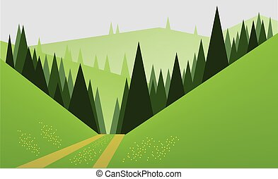 Abstract landscape design with green trees, hills and fog, a...