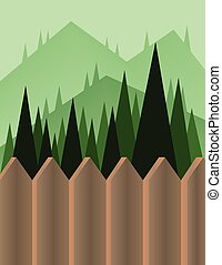 Abstract landscape design with green trees and hills, a...