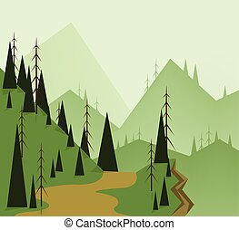 Abstract landscape design with green trees, hills, road and...