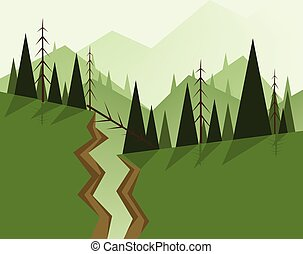 Abstract landscape design with green trees, hills, fog and a...