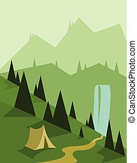 Abstract landscape design with green trees and a tent, a...