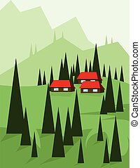 Abstract landscape design with green trees and hills, red...
