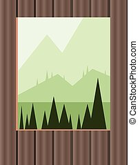 Abstract landscape design with green trees and hills, window...