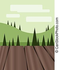 Abstract landscape design with green trees, hills and...