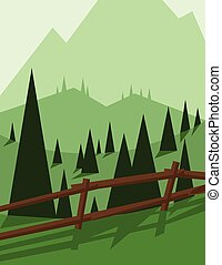 Abstract landscape design with green trees and hills, brown...