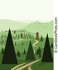 Abstract landscape design with green trees and hills, roads...