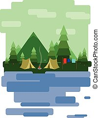 Abstract landscape design with green trees and clouds, tents...