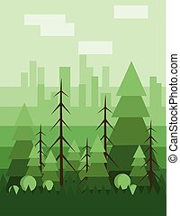 Abstract landscape design with green trees and clouds, flat...