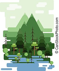 Abstract landscape design with green trees and clouds, a...