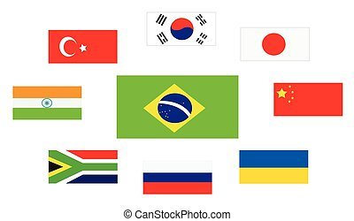 Set of country flags, Brasil, South