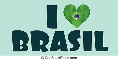 I love brasil card, over light green background, in...