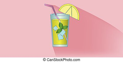 A lemonade cocktail glass with straw, mint and lemon slice...