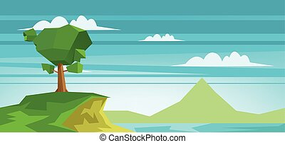 Abstract landscape with a lake and