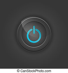 Black button power Vector illustration with shading