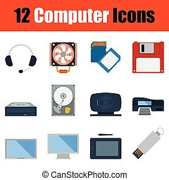 Computer icon set Color flat design Vector illustration