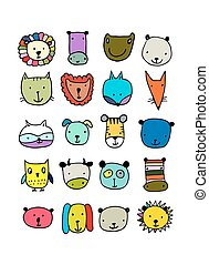 Set of animal faces, sketch for your design. Vector...