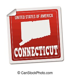 Connecticut sticker or label on white background, vector...