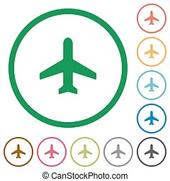 Airplane outlined flat icons - Set of airplane color round...