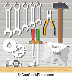 Happy Labor Day, with tools set. Digital vector image