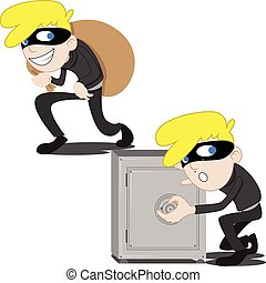 Thief - Illustration of thief stealing inside a safe