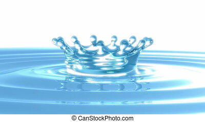 Loopable Rotating splash crown on rippled blue liquid or...