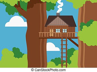 Tree house - Illustration of a tree house