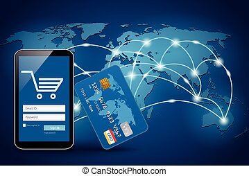 Smart phone with credit card on global map background -...