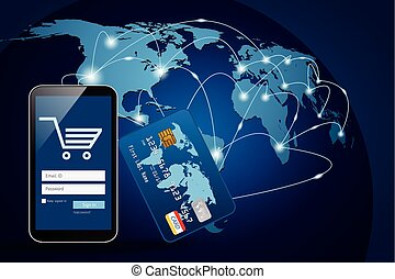 Smart phone with credit card on global map background