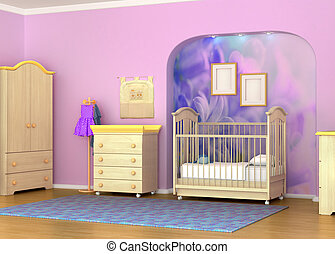 Baby cot in the room. Children's room furniture, detski...