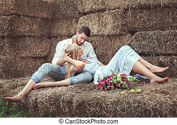 Man and woman in the hayloft - Man and woman in the hayloft,...