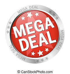 Button Mega Deal - colored button with banner and text Mega...