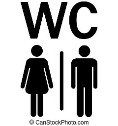 WC sign Men Women - silhouettes of man and woman showing...