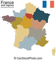 country France and regions since 2016 - silhouettes of...
