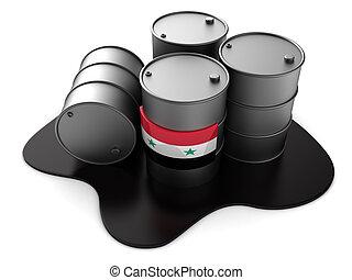 syria oil - 3d illustration of syria oil barrels