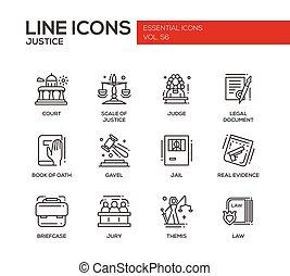 Justice - line design icons set - Justice - modern vector...