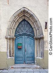 Doorway Tallinn Estonia, EU - Blue wooden door in old town...