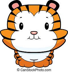 Baby Tiger Cub - A happy cartoon baby tiger cub smiling.