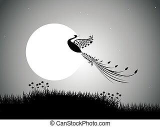backgrounds night sky with stars and moon and bird. vector
