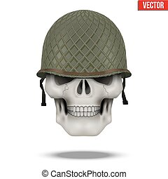 Military US helmet M1 WWII and skull - Military US green...