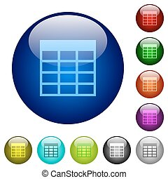 Color Spreadsheet table glass buttons - Set of color...