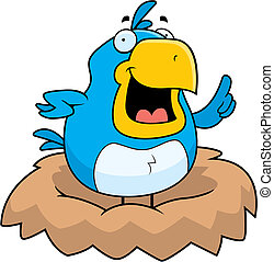 Blue Bird Nest - A happy cartoon blue bird in a nest.