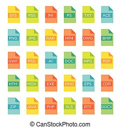 Vector icon set of file extensions