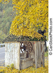 country wooden draw well in autumn time