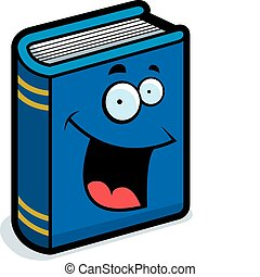 Book Smiling - A cartoon blue book smiling and happy