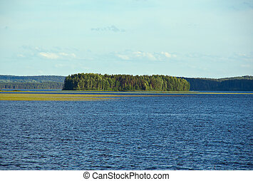 Lake Kenozero .view of the island . Arkhangelsk region,...