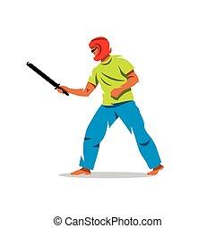 Vector Japanese martial art Chanbara Cartoon Illustration. -...