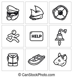 Vector Set of Shipwreck Icons. Captain, Ship, Rescue,...
