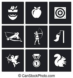 Vector Set of Archery Icons. Robin Hood, Apple, Target,...